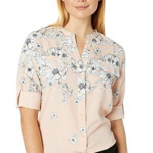 Women's printed roll sleeve shirt